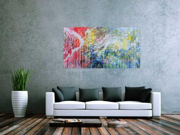 #571 Helles abstraktes Acrylbild mondern zeitgenössich 80x150cm von Alex Zerr