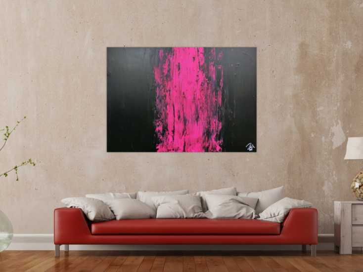 #572 Minimalistisches abstraktes Gemälde schwarz und pink sehr modern 100x140cm von Alex Zerr