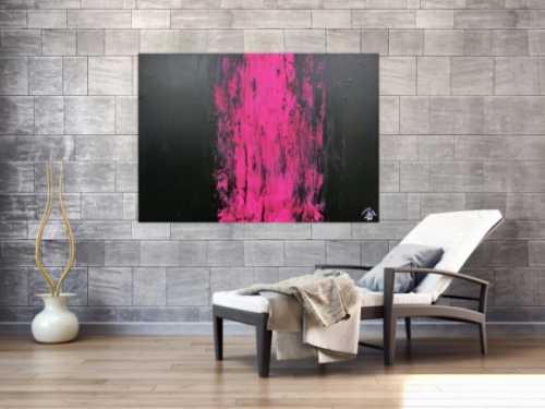 Minimalistisches abstraktes Gemälde schwarz und pink sehr modern