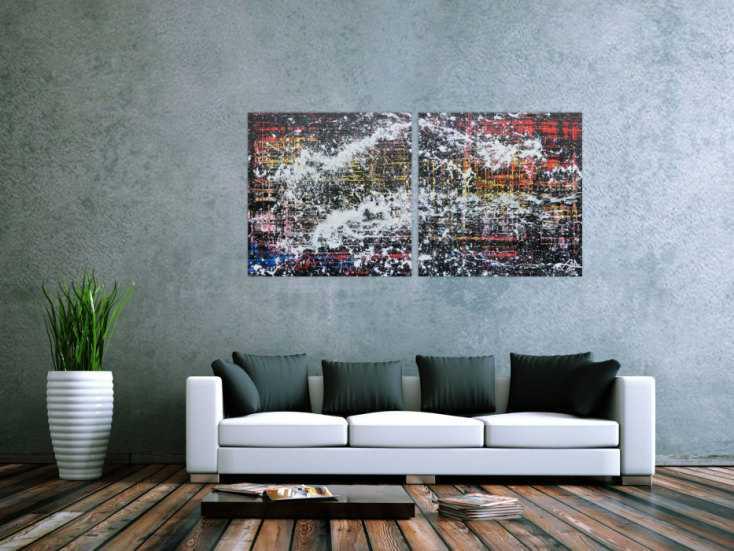 #573 Modernes Gemälde abstrakt diptychon aus zwei Teilen 80x160cm von Alex Zerr