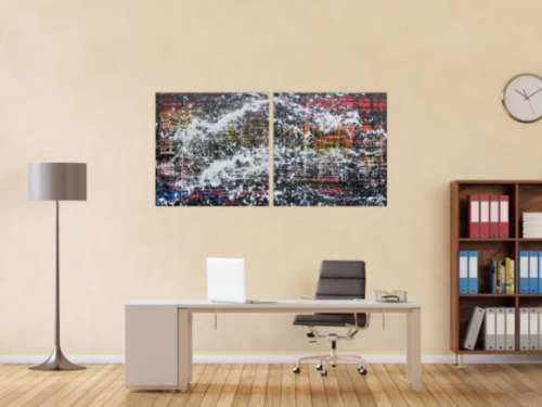Modernes Gemälde abstrakt diptychon aus zwei Teilen