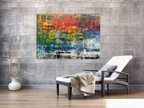 Sehr buntes abstraktes Gemälde aus Acryl modern viele Farben
