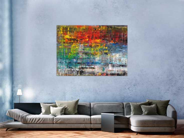 #575 Sehr buntes abstraktes Gemälde aus Acryl modern viele Farben 100x140cm von Alex Zerr