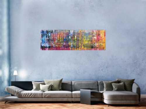Buntes abstraktes Gemälde schmal modern viele Farben