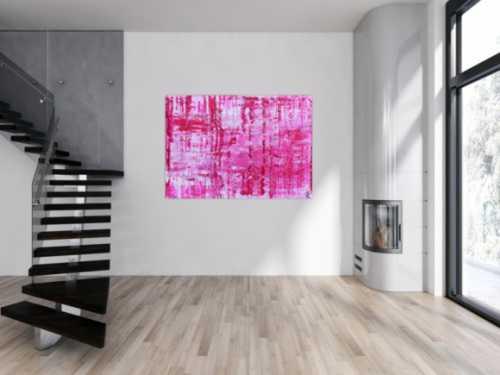 Sehr modernes abstraktes Gemälde in pink und weiß