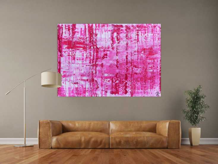 #577 Sehr modernes abstraktes Gemälde in pink und weiß 100x160cm von Alex Zerr