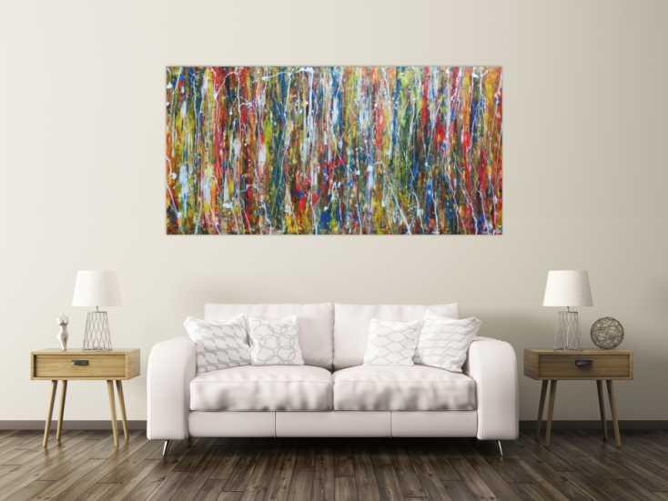 abstraktes acrylbild auf leinwand 100x200cm. Black Bedroom Furniture Sets. Home Design Ideas