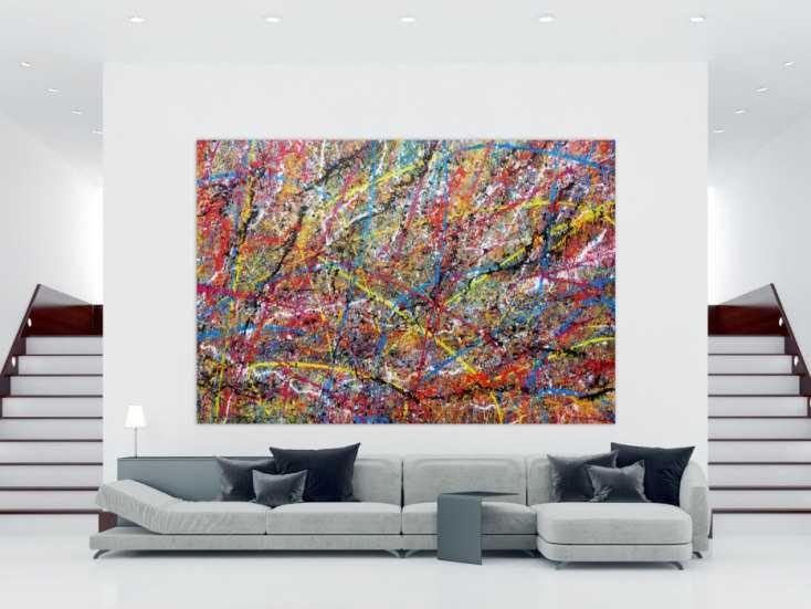 #580 Sehr großes XXL Gemälde abstrakt modern sehr bunt 200x300cm von Alex Zerr