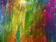 Detailaufnahme Modernes Gemälde sehr bunt abstrakt viele Farben