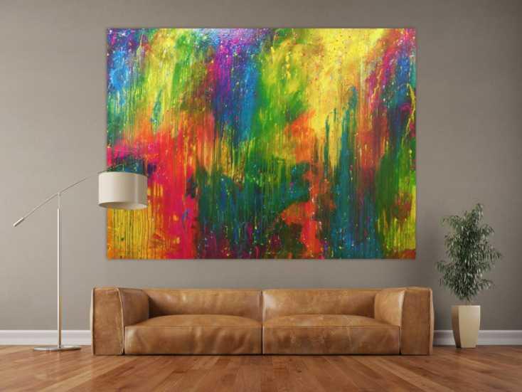 modernes gem lde sehr bunt abstrakt viele farben auf leinwand 150x200cm. Black Bedroom Furniture Sets. Home Design Ideas