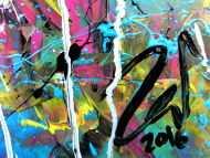 Detailaufnahme Abstraktes Acrylgemälde modern bunt zeitgenössisch