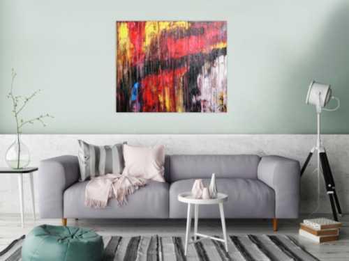 Abstraktes Acrylgemälde modern rot schwarz weiß