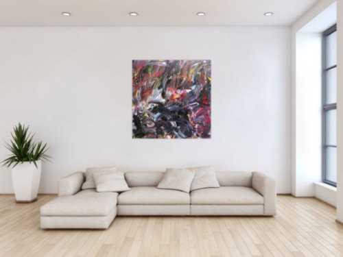 Abstraktes Gemälde Acryl auf Leinwand modern dunkel