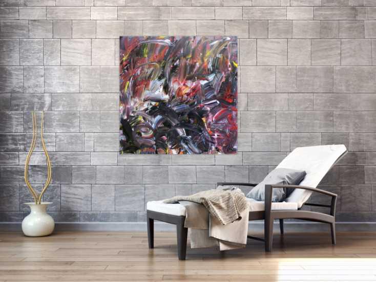 abstraktes gem lde acryl auf leinwand modern dunkel auf leinwand 100x100cm. Black Bedroom Furniture Sets. Home Design Ideas