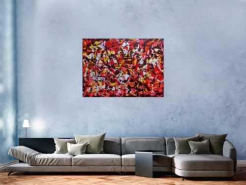 Modernes Acrylgemälde abstrakt rot gelb weiß