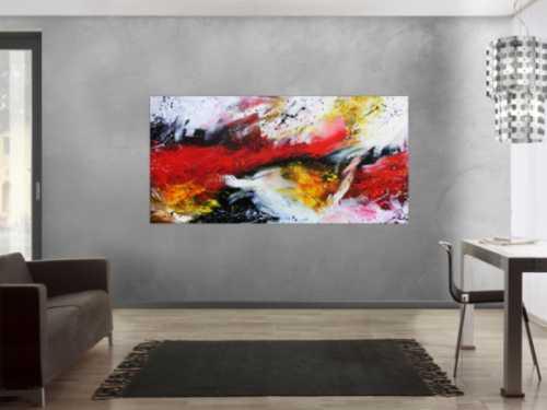 Sehr modernes abstraktes Gemälde in weiß schwarz rot