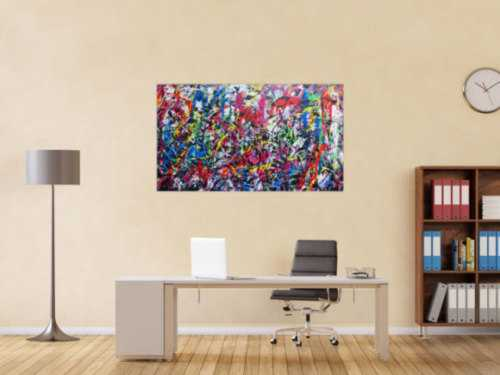 Sehr buntes abstraktes Gemälde viele Farben modern fröhlich