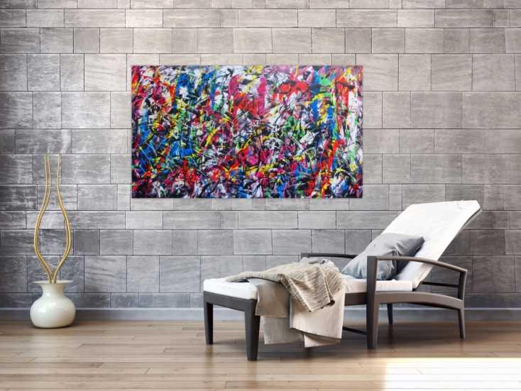 #587 Sehr buntes abstraktes Gemälde viele Farben modern fröhlich 80x140cm von Alex Zerr