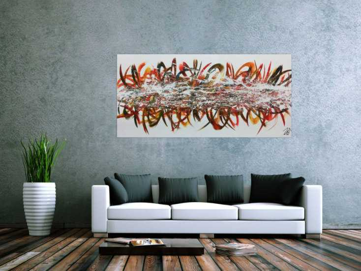 abstraktes acrylgem lde modern bunt viele farben mit wei em hintergrund handgemalt auf leinwand. Black Bedroom Furniture Sets. Home Design Ideas