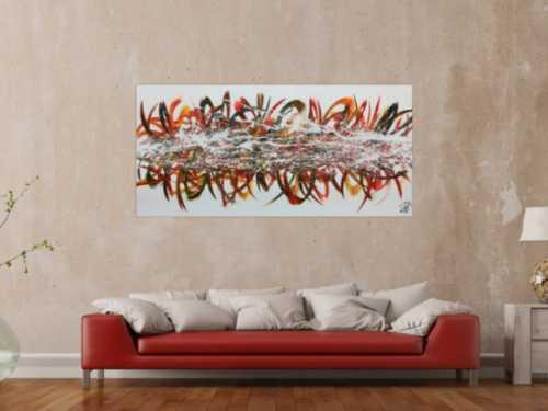 Abstraktes Acrylgemälde modern bunt viele Farben mit weißem Hintergrund