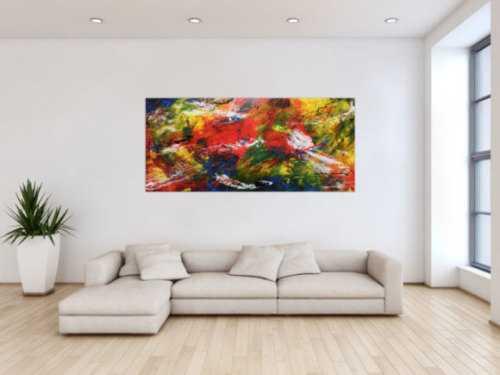 Modernes abstraktes Acrylgemälde sehr bunt viele Farben