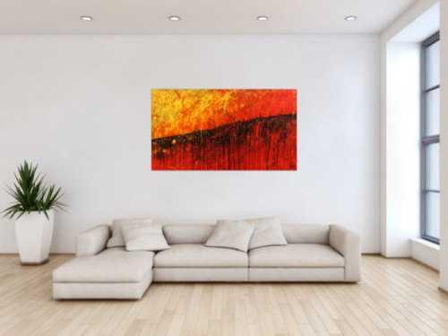 Starkes abstraktes Gemälde rot gelb schwarz sehr modern