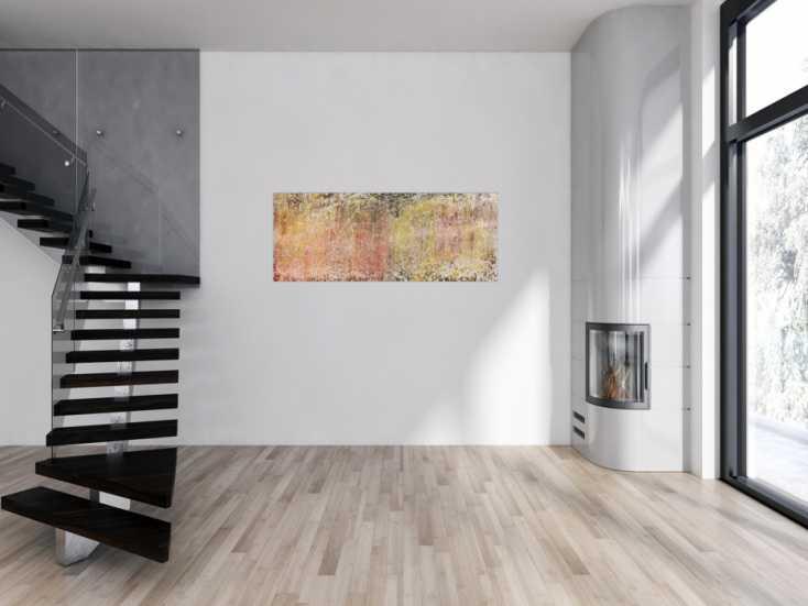 #593 Helles und schlichtes zeitgenössisches Gemälde abstrakt modern 60x150cm von Alex Zerr