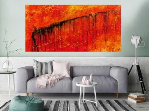 Abstraktes Gemälde in rot und orange sehr modern und ausdrucksstark