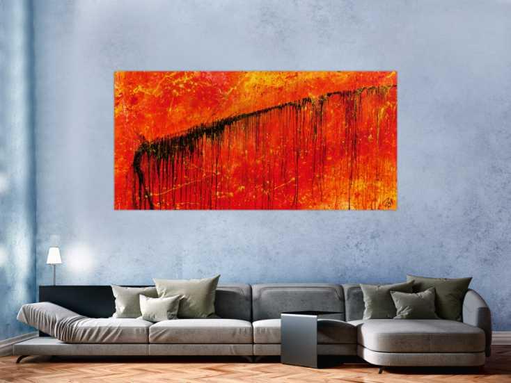 #595 Abstraktes Gemälde in rot und orange sehr modern und ausdrucksstark 100x200cm von Alex Zerr