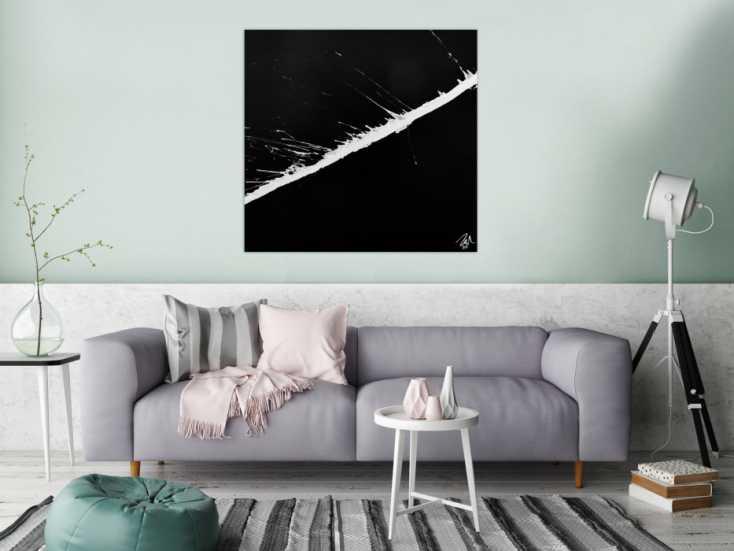#596 Minimalistisches abstraktes Gemälde schwarz weiß 100x100cm von Alex Zerr