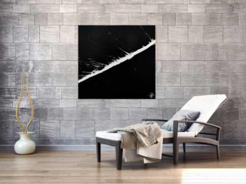 Minimalistisches abstraktes Gemälde schwarz weiß