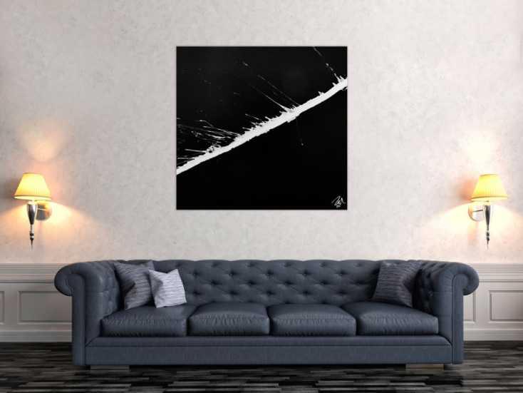 minimalistisches abstraktes gem lde schwarz wei auf leinwand 100x100cm. Black Bedroom Furniture Sets. Home Design Ideas