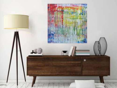 Abstraktes zeigenössisches Acrylgemälde mit hellen Faben