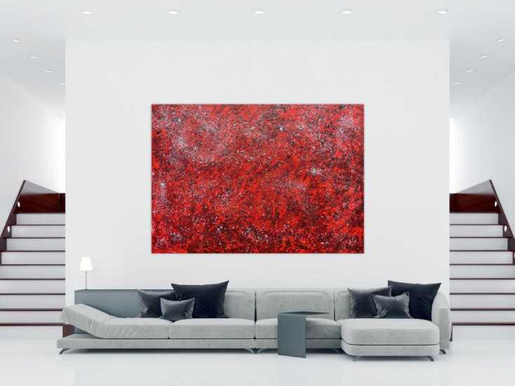 #601 Modernes abstraktes Acrylgemälde in rot und silber 170x240cm von Alex Zerr