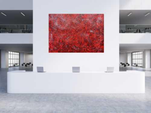 Modernes abstraktes Acrylgemälde in rot und silber