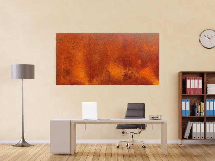#602 Modernes Gemälde aus echtem Rost abstrakt 90x180cm von Alex Zerr