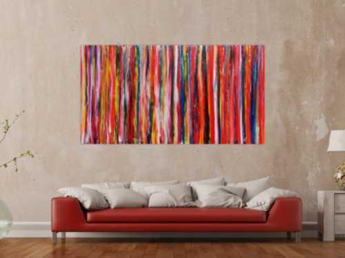 Abstraktes Gemälde modern mit bunten Streifen viele Farben
