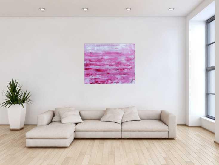 #604 Abstraktes Acrylbild in rosa und weiß mit hellen Farben 80x100cm von Alex Zerr