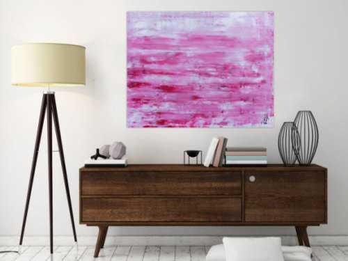 Abstraktes Acrylbild in rosa und weiß mit hellen Farben