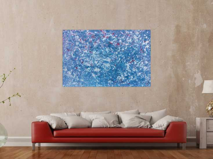 #605 Modernes Gemälde abstrakt in hellblau und weiß mit etwas pink 90x140cm von Alex Zerr