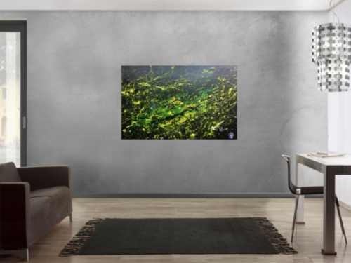 Sehr modernes abstraktes Gemälde mit dunklen Farben und grün gelb