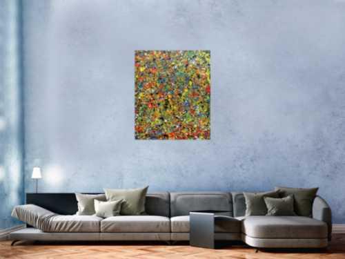 Sehr buntes abstraktes Gemälde viele Farben modern und farbenfroh