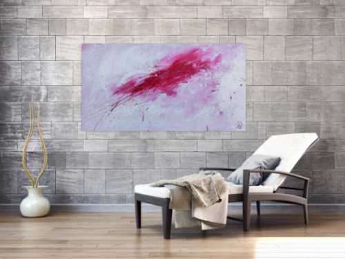 Schlichtes abstraktes Gemälde sehr modern in weiß und pink