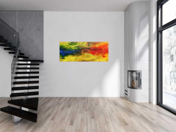 #609 Modernes abstraktes Acrylbild bunt in gelb blau und rot 60x150cm von Alex Zerr