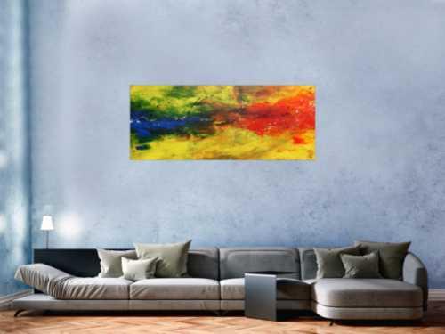 Modernes abstraktes Acrylbild bunt in gelb blau und rot