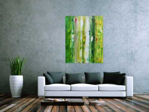 Abstraktes modernes Acryl Gemälde in grün und weiß