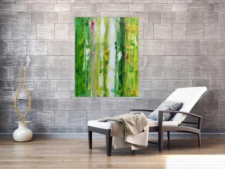 #612 Abstraktes modernes Acryl Gemälde in grün und weiß 120x90cm von Alex Zerr