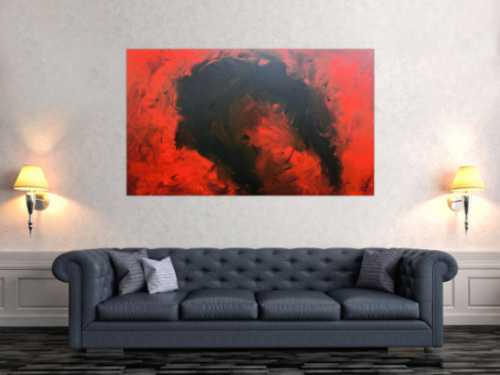 Sehr modernes abstraktes Gemälde minimalistisch rot schwarz