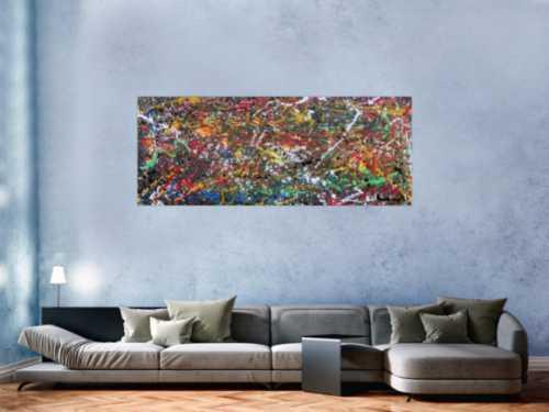 Buntes Acrylgemälde modern abstrakt viele Farben