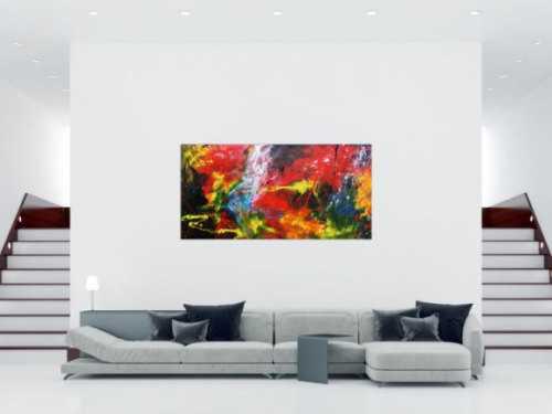 Buntes abstraktes Acrylgemälde modern sehr farbenfroh